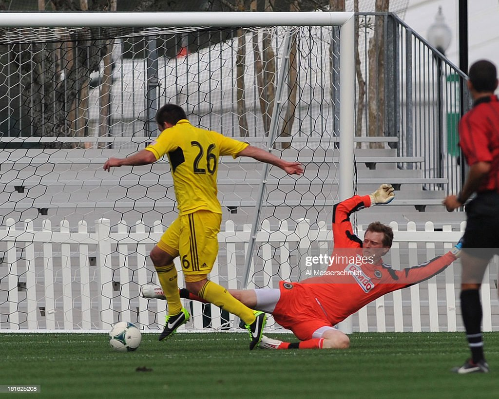 Defender Reed Matte #26 of the Columbus Crew converts a first-half goal against the Philadelphia Union February 13, 2013 in the second round of the Disney Pro Soccer Classic in Orlando, Florida.