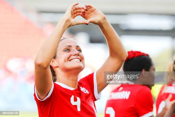 Defender Shelina Zadorsky of Team Canada makes a heart with her hands towards the crowd after defeating Team Costa Rica 6 0 in a exhibition match on...
