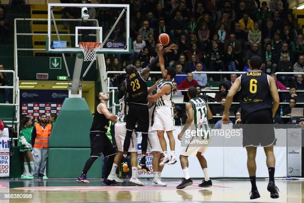 defender Sidigas Avellino from shoot basketball of Tonye Jekiri of Oostende during third day of Champions League match between Sidigas Avellino v...