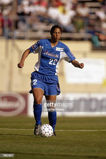 Defender Steffi Jones of the Washington Freedom advances the ball during the WUSA game against the San Jose CyberRays at Spartan Stadium on April 19...