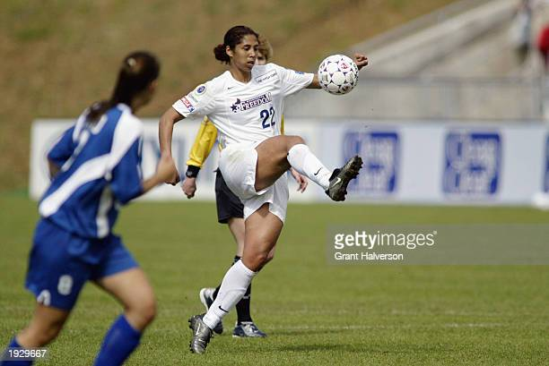 Defender Steffi Jones of the Washington Freedom kicks the ball during the WUSA game against the Carolina Courage at the SAS Soccer Park on April 5...