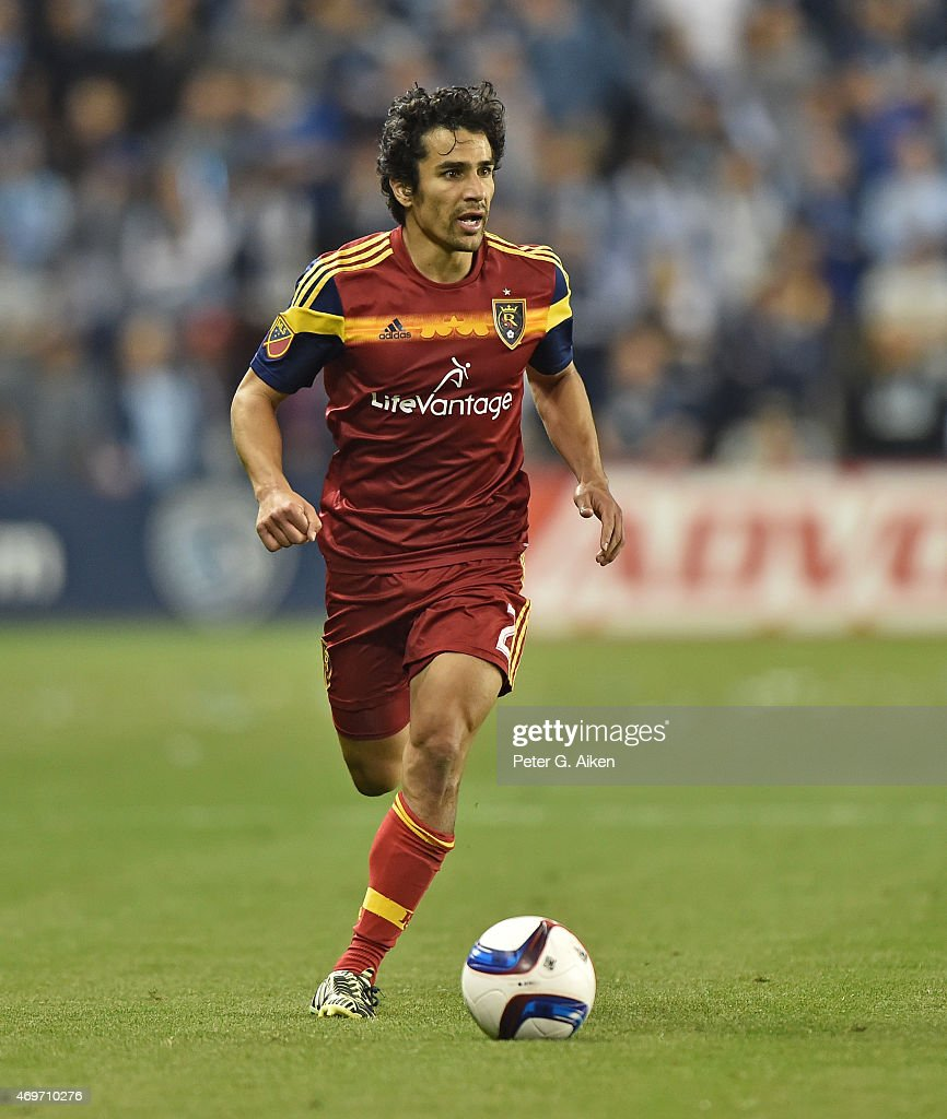 Defender Tony Beltran of Real Salt Lake pushes the ball up field against Sporting Kansas City during the second half on April 11 2015 at Sporting...