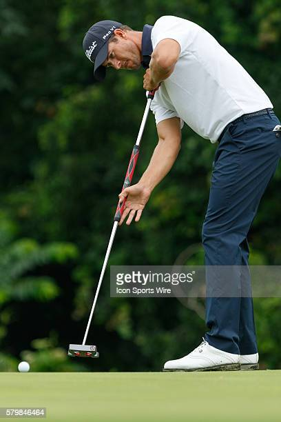 Defending champion Adam Scott hits his putt on during the second round of the Crowne Plaza Invitational at Colonial in Fort Worth TX