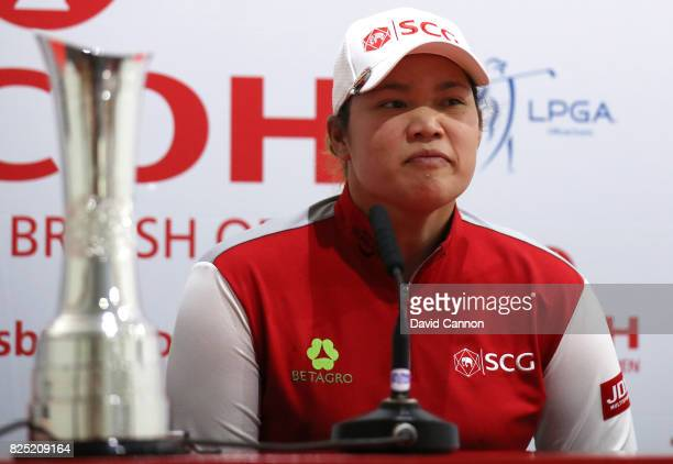 Defending Champion Ariya Jutanugarn of Thailand answers questiions from the media at a press conference during a proam round prior to the Ricoh...