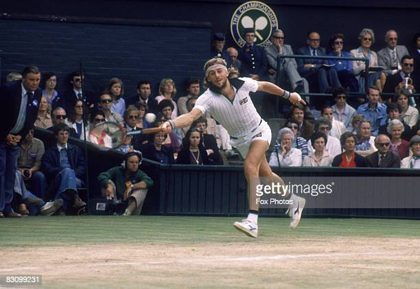 Defending champion Bjorn Borg of Sweden competing in the Men's Singles Final against John McEnroe of the USA at Wimbledon 5th July 1980 Borg won the...