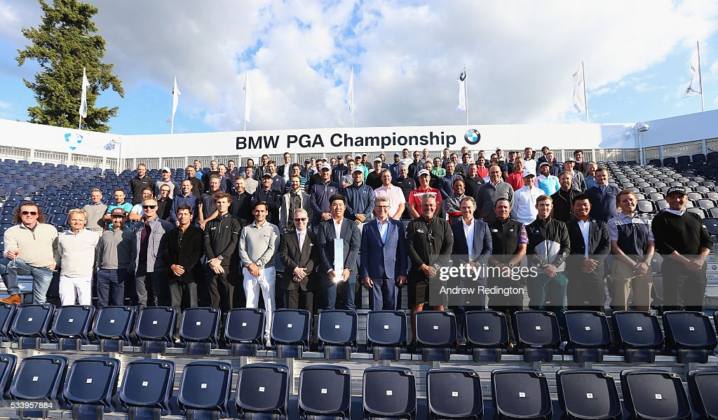 Defending Champion Byeong Hun An of South Korea poses with The European Tour Chief Executive <a gi-track='captionPersonalityLinkClicked' href=/galleries/search?phrase=Keith+Pelley&family=editorial&specificpeople=8533833 ng-click='$event.stopPropagation()'>Keith Pelley</a>, BMW Group UK and Ireland Managing Director Graeme Grieve, Ryder Cup Captain <a gi-track='captionPersonalityLinkClicked' href=/galleries/search?phrase=Darren+Clarke&family=editorial&specificpeople=171309 ng-click='$event.stopPropagation()'>Darren Clarke</a>, Masters Champion <a gi-track='captionPersonalityLinkClicked' href=/galleries/search?phrase=Danny+Willett&family=editorial&specificpeople=4488861 ng-click='$event.stopPropagation()'>Danny Willett</a> and fellow European Tour golfers during the BMW PGA Championship Reception prior to the BMW PGA Championship at Wentworth on May 24, 2016 in Virginia Water, England.