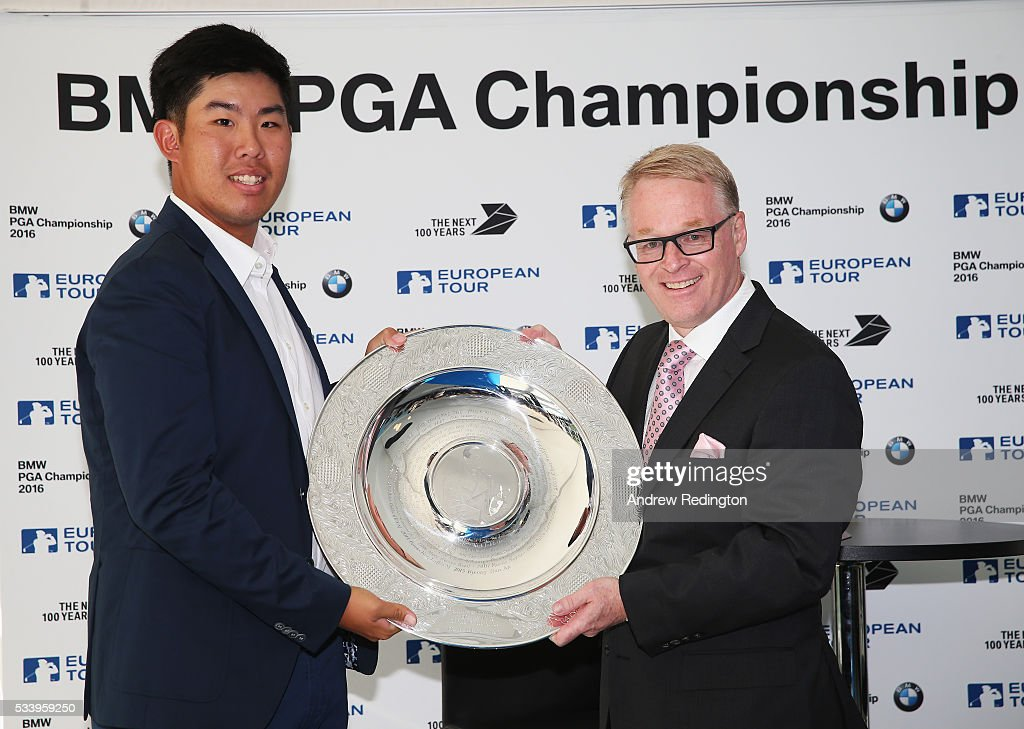 Defending Champion Byeong Hun An of South Korea receives the Sir Henry Cotton Rookie of the Year award from The European Tour Chief Executive <a gi-track='captionPersonalityLinkClicked' href=/galleries/search?phrase=Keith+Pelley&family=editorial&specificpeople=8533833 ng-click='$event.stopPropagation()'>Keith Pelley</a> during the BMW PGA Championship Reception prior to the BMW PGA Championship at Wentworth on May 24, 2016 in Virginia Water, England.