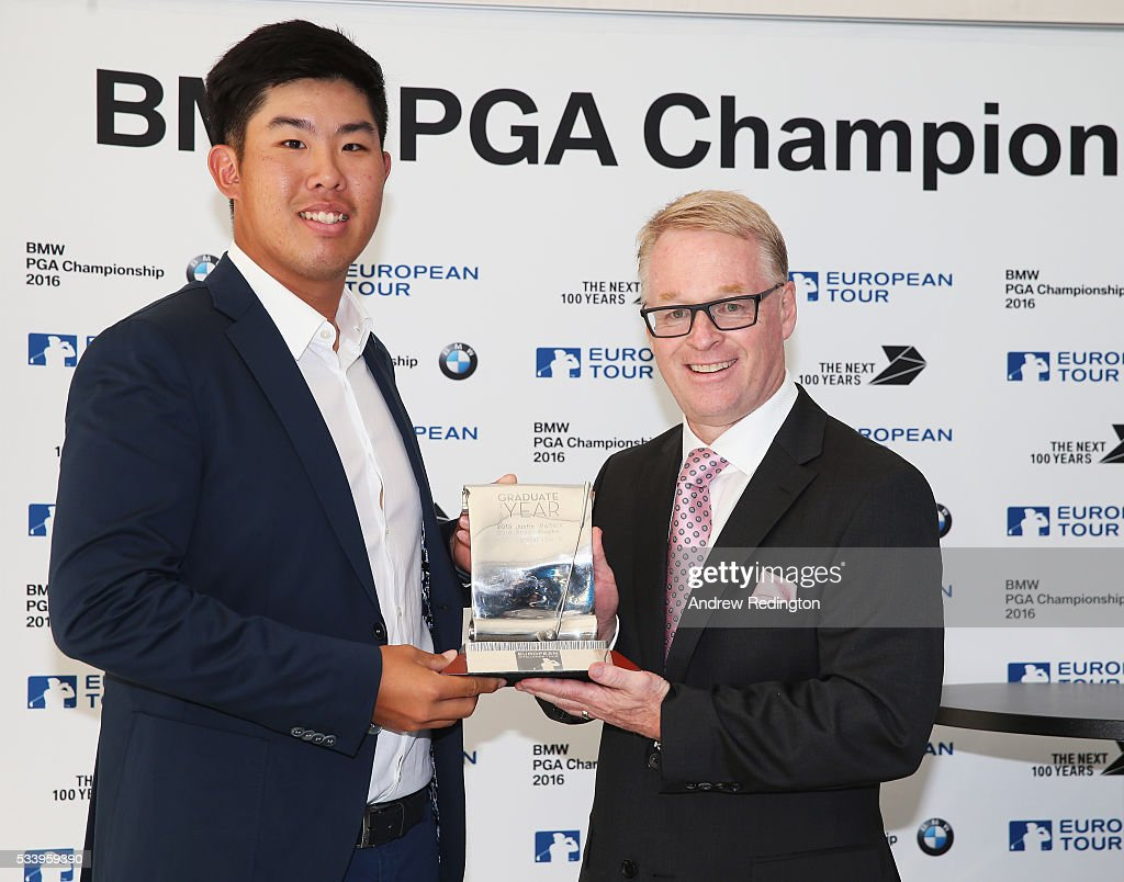 Defending Champion Byeong Hun An of South Korea receives the Challenge Tour Graduate of the Year award from The European Tour Chief Executive <a gi-track='captionPersonalityLinkClicked' href=/galleries/search?phrase=Keith+Pelley&family=editorial&specificpeople=8533833 ng-click='$event.stopPropagation()'>Keith Pelley</a> during the BMW PGA Championship Reception prior to the BMW PGA Championship at Wentworth on May 24, 2016 in Virginia Water, England.