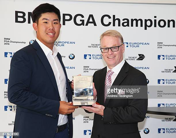 Defending Champion Byeong Hun An of South Korea receives the Challenge Tour Graduate of the Year award from The European Tour Chief Executive Keith...