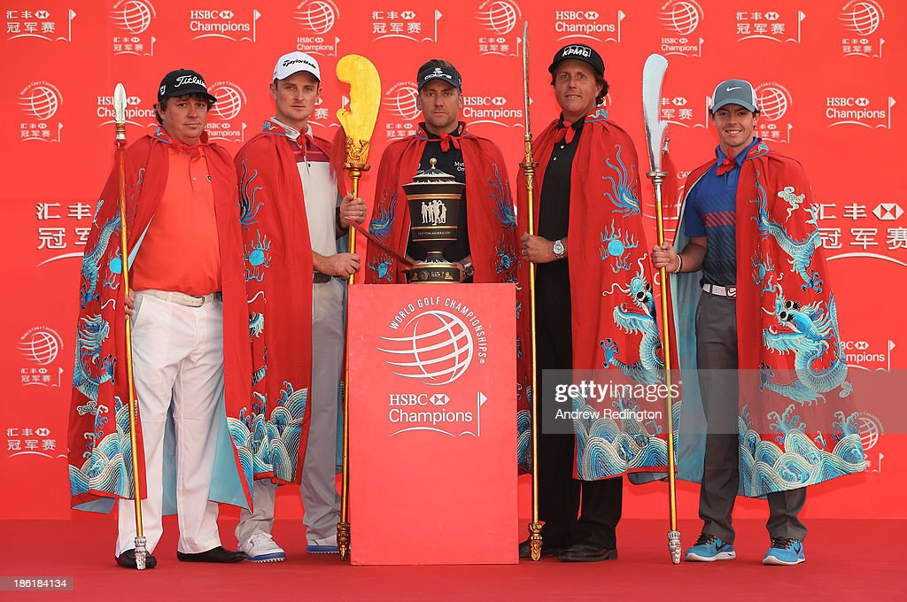Defending champion <a gi-track='captionPersonalityLinkClicked' href=/galleries/search?phrase=Ian+Poulter&family=editorial&specificpeople=171444 ng-click='$event.stopPropagation()'>Ian Poulter</a> of England (C) poses on stage with (L to R) <a gi-track='captionPersonalityLinkClicked' href=/galleries/search?phrase=Jason+Dufner&family=editorial&specificpeople=561651 ng-click='$event.stopPropagation()'>Jason Dufner</a> of the USA, <a gi-track='captionPersonalityLinkClicked' href=/galleries/search?phrase=Justin+Rose&family=editorial&specificpeople=171559 ng-click='$event.stopPropagation()'>Justin Rose</a> of England, <a gi-track='captionPersonalityLinkClicked' href=/galleries/search?phrase=Phil+Mickelson&family=editorial&specificpeople=157543 ng-click='$event.stopPropagation()'>Phil Mickelson</a> of the USA and Rory McIlroy of Northern Ireland during a photocall prior to the start of the WGC-HSBC Champions at the Peninsula Hotel on October 29, 2013 in Shanghai, China.