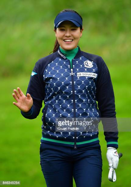 Defending Champion In Gee Chun of South Korea waves during the pro am prior to the start of The Evian Championship at Evian Resort Golf Club on...