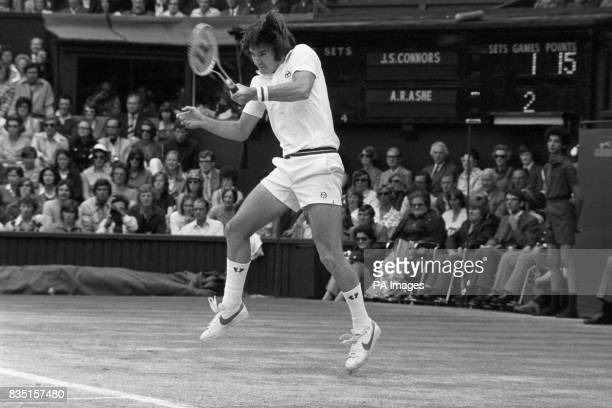Defending champion Jimmy Connors in play during the Wimbledon Men's Single Competition He was defeated by fellow American Arthur Ashe who became the...