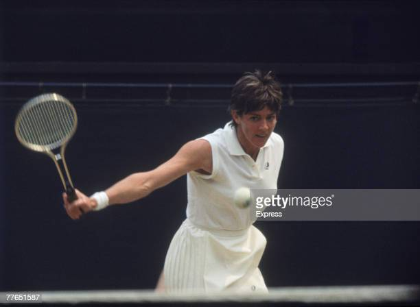 Defending champion Margaret Court competing against fellow Australian Evonne Goolagong in the Ladies' Singles Final at Wimbledon 2nd July 1971...