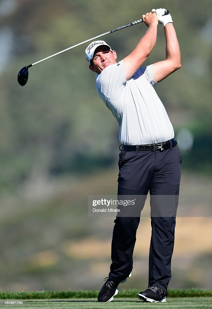 Defending champion Scott Stallings plays his tee shot on the fifth hole of the south course during round two of the Farmers Insurance Open at Torrey...