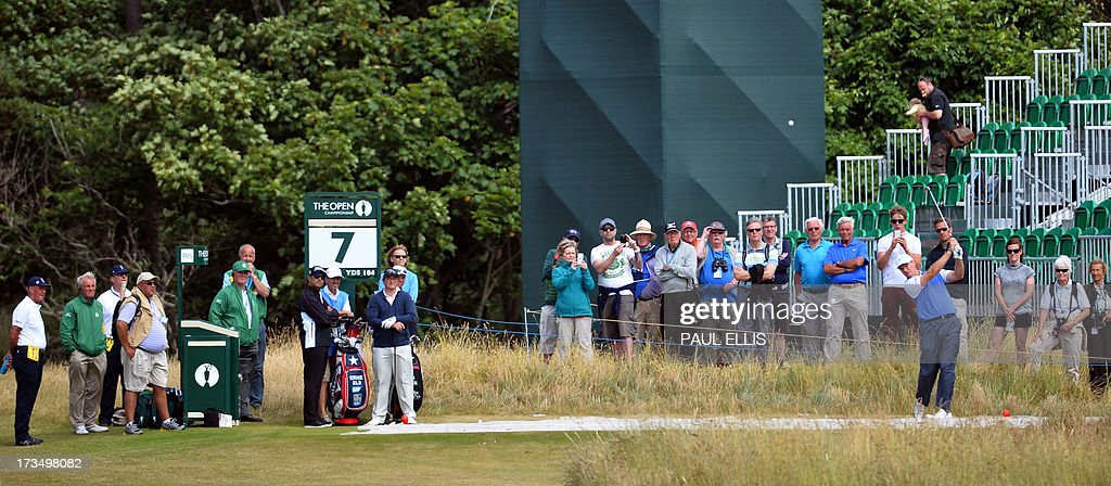 Defending champion, South Africa's Ernie Els plays from the seventh tee at Muirfield golf course at Gullane in Scotland on July 15, 2013 ahead of The 2013 Open Golf Championship.