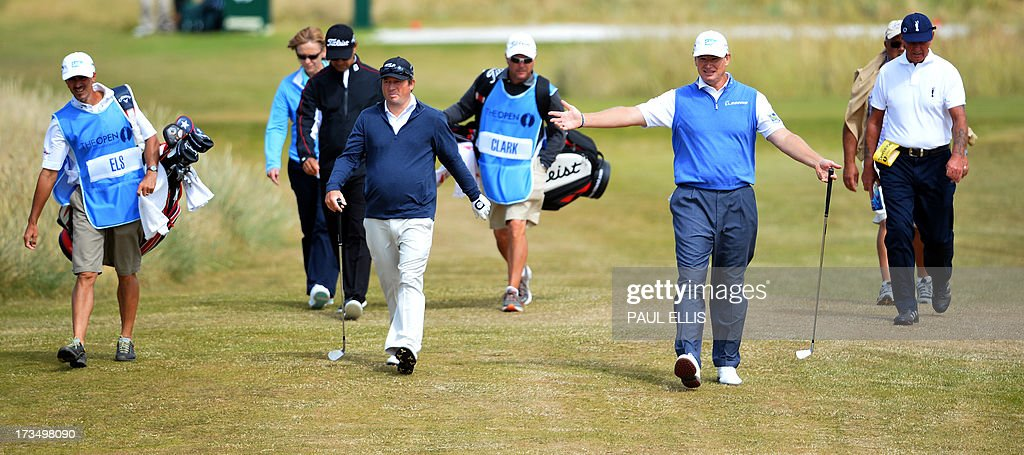 Defending champion, South Africa's Ernie Els walks from the seventh tee at Muirfield golf course at Gullane in Scotland on July 15, 2013 ahead of The 2013 Open Golf Championship. AFP PHOTO/PAUL ELLIS