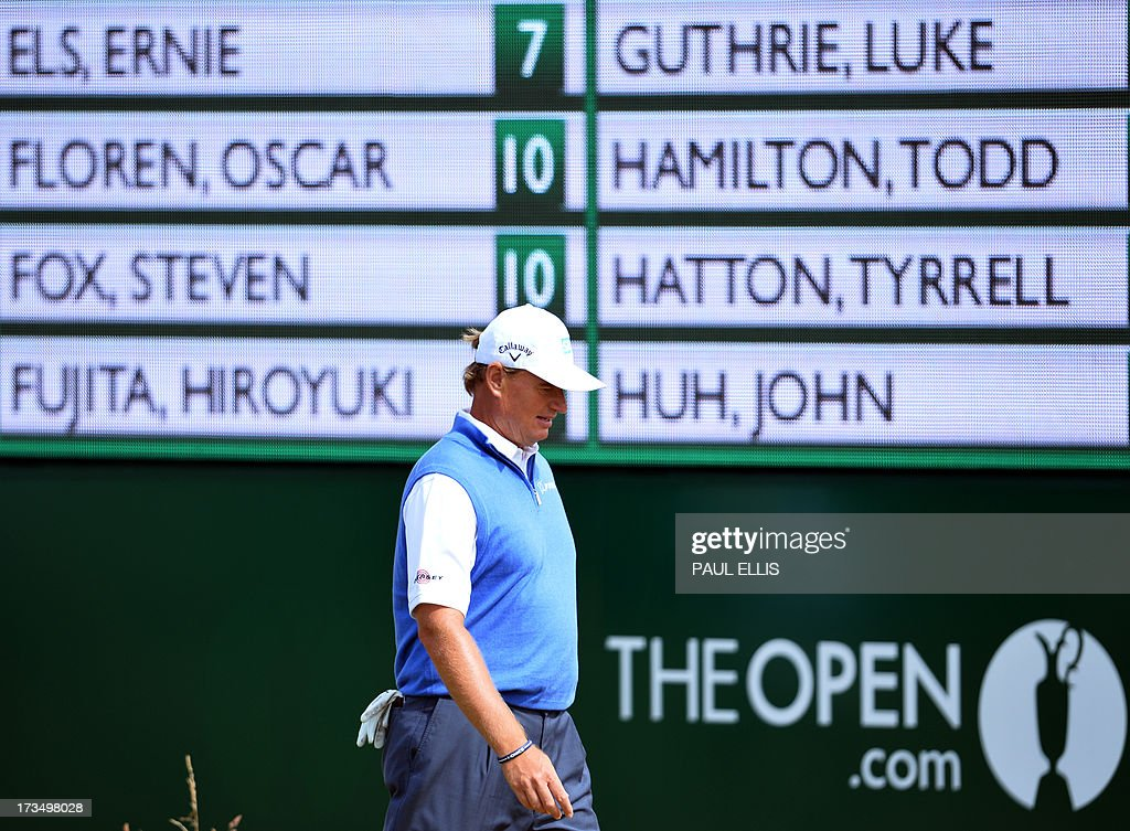 Defending champion, South Africa's Ernie Els walks to the seventh green at Muirfield golf course at Gullane in Scotland on July 15, 2013 ahead of The 2013 Open Golf Championship.
