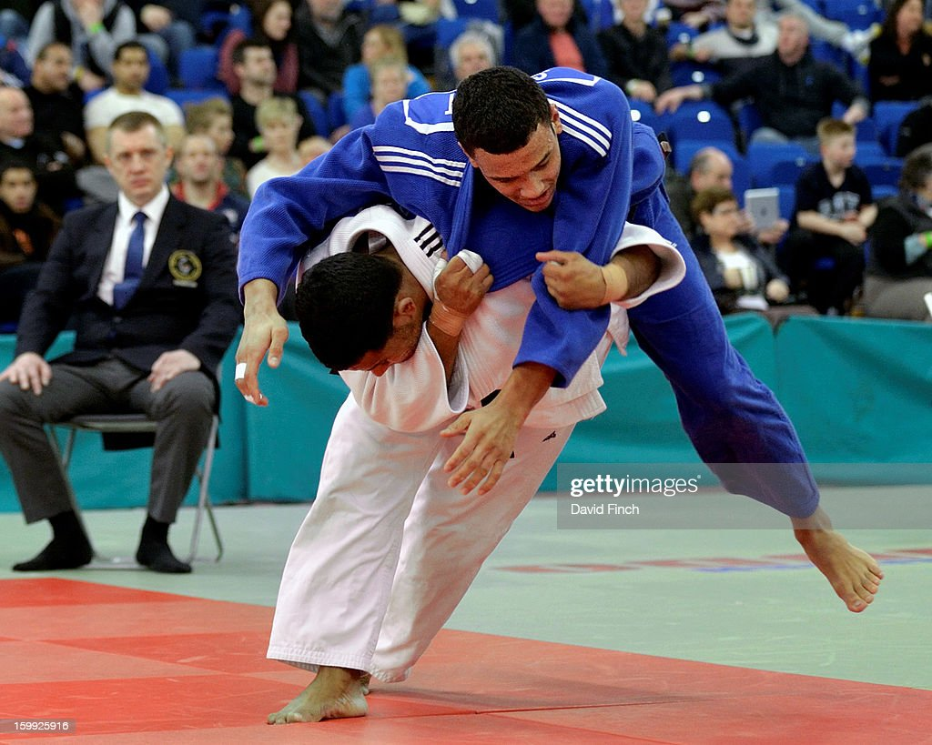 Defending champion Tom Davis of Camberley (white), narrowly defeated World Junior silver medallist, Max Stewart, after their match went to extra time and a referee's decision in their u81kgs final pool match at the British Senior Judo Championships on Sunday, January 20, 2013 at the English Institute of Sport, Sheffield, England, UK.