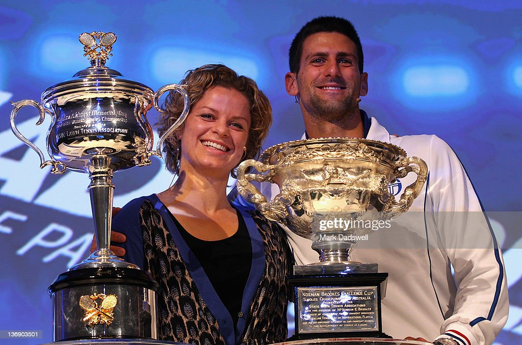 KIM CLIJSTERS - VIDEOS ET/OU BIO - 2 - Page 22 Defending-champions-kim-clijsters-of-belgian-and-novak-djokovic-of-picture-id136903501