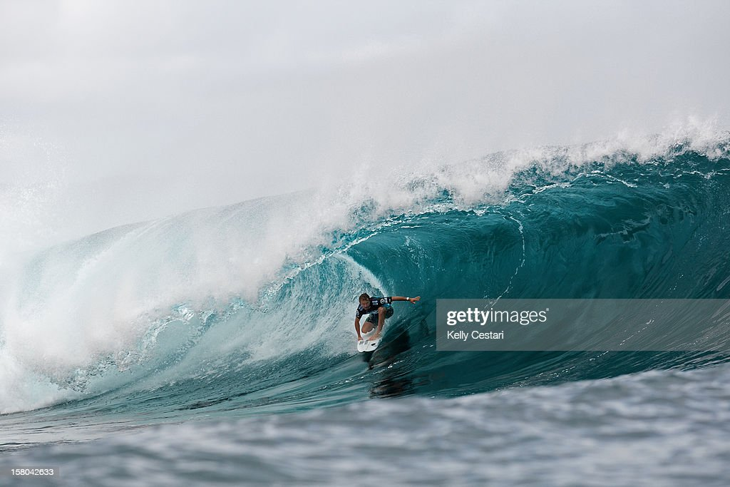 Defending event champion Kieren Perrow of Australia advanced into Round 5 of the Billabong Pipe Masters in Memory of Andy Irons at Pipeline on December 9, 2012 in North Shore, United States.