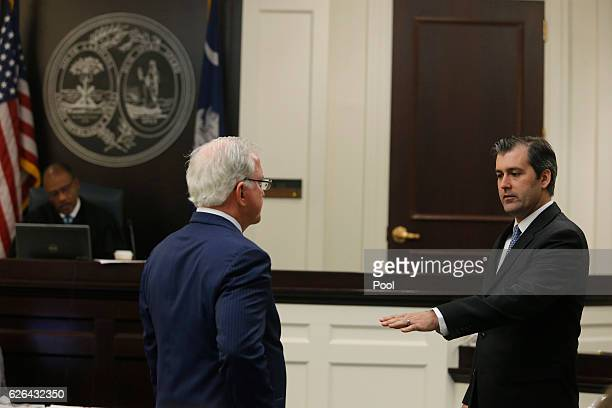 Defense attorney Andy Savage watches as former North Charleston police officer Michael Slager gestures during his murder trial at the Charleston...