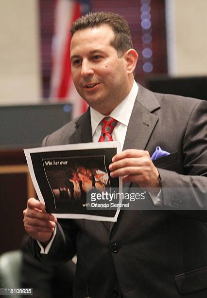 Defense attorney Jose Baez presents closing arguments in the Casey Anthony trial at the Orange County Courthouse in Orlando Florida on Sunday July 3...