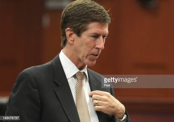 Defense attorney Mark O'Mara appears in court during a hearing in the George Zimmerman trial on April 27 2012 in Sanford Florida Zimmerman is charged...