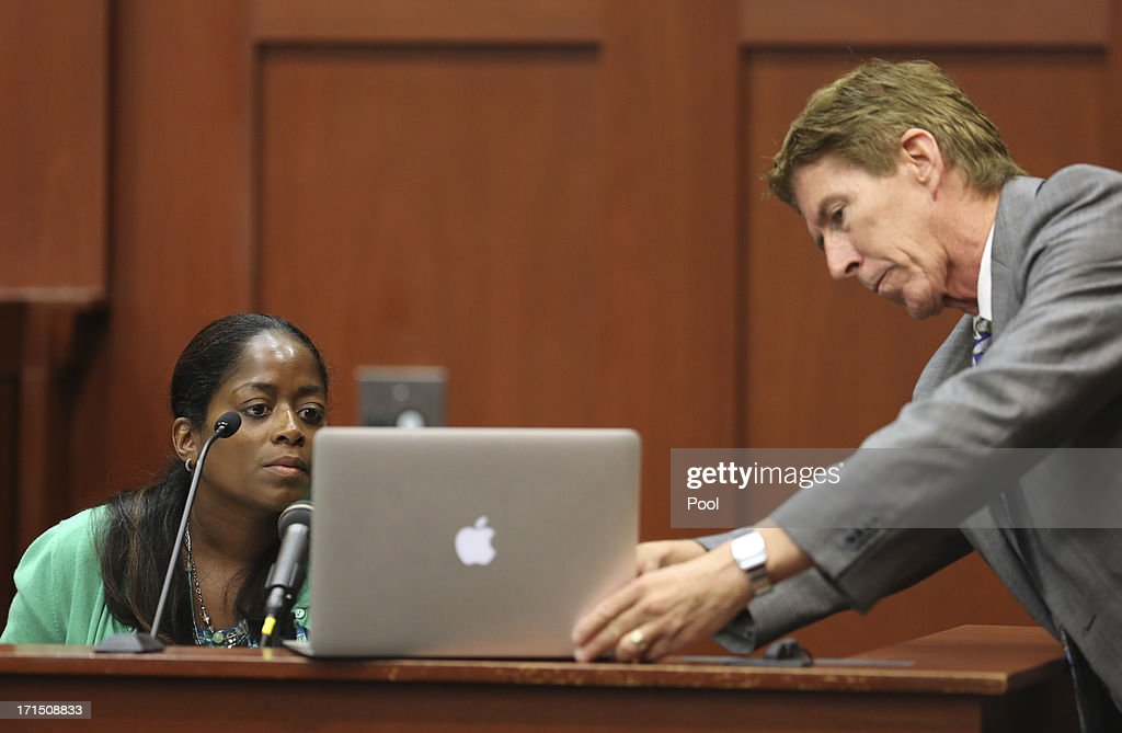 Defense attorney Mark O'Mara has state witness Selene Bahadoor read from her Facebook page while testifying during George Zimmerman's trial in Seminole circuit court June 25, 2013 in Sanford, Florida. Zimmerman is charged with second-degree murder for the February 2012 shooting death of 17-year-old Trayvon Martin.