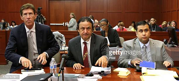 Defense attorney Mark O'Mara jury consultant Robert Hirschhorn and George Zimmerman watch as Judge Debra Nelson enters the courtroom during...
