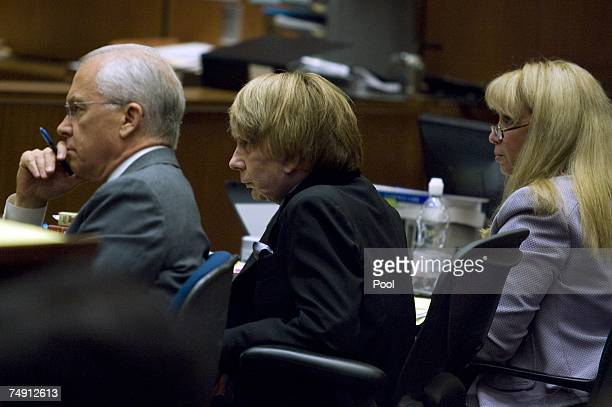 Defense attorney Roger Rosen his client music producer Phil Spector and attorney Linda Kenny Baden listen to the testimony of Los Angeles County...