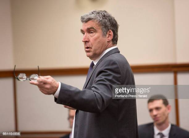 Defense attorney Thomas Hallett gestures during crossexamination of Deputy District Attorney Jennifer Ackerman during a hearing for 17 protesters...