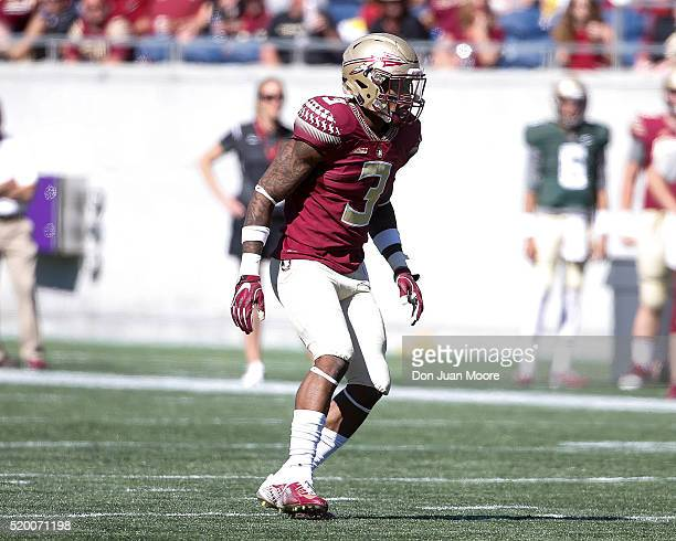 Defense Back Derwin James of the Florida State Seminoles during the Spring Game at the Florida Citrus Bowl in Orlando Florida on April 9 2016 in...