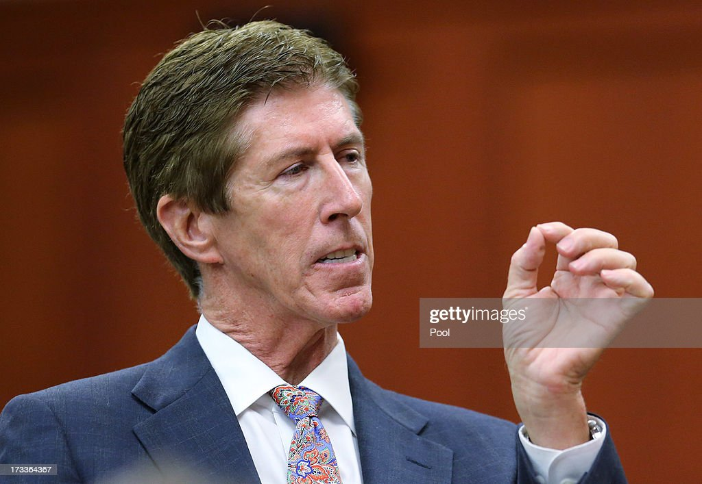 Defense counsel Mark O'Mara addresses the jury during closing arguments in George Zimmerman's murder trial July 12 2013 in Sanford Florida Judge...