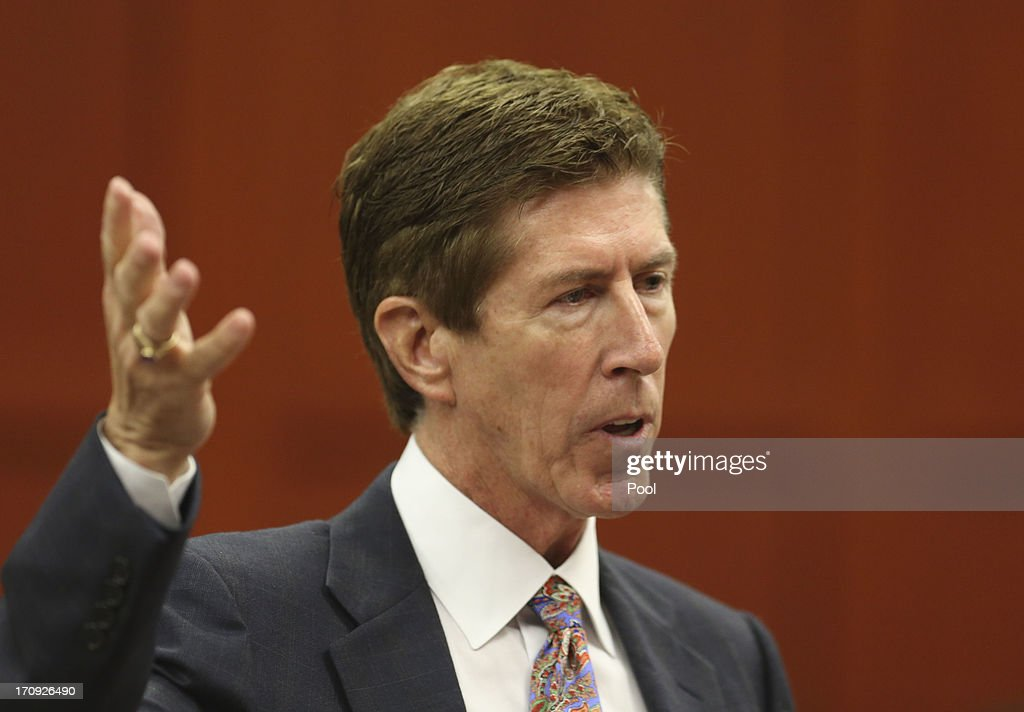 Defense counsel Mark O'Mara questions potential jurors during George Zimmerman's trial in Seminole circuit court June 20 2013 in Sanford Florida...
