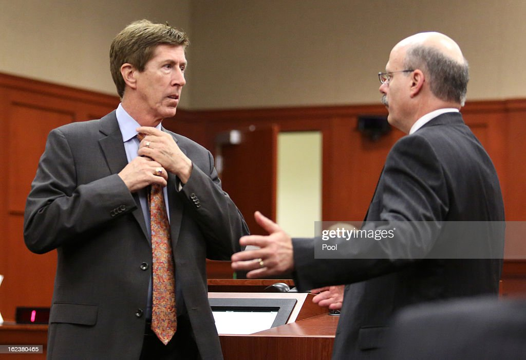 Defense counsel Mark O'Mara (L) talks with Assistant State Attorney Bernie de la Rionda before the start of the hearing in the George Zimmerman case in Seminole circuit court February 22, 2013 in Sanford, Florida. efense attorneys for Zimmerman , who is accused of the murder of Trayvon Martin, were asking to depose Benjamin Crump, a lawyer for Trayvon Martin's parents, about an interview. The judge ruled against that request, but ruled in favor of a defense request for all voice recordings from the past three years that Trayvon Martin's parents and girlfriend have.