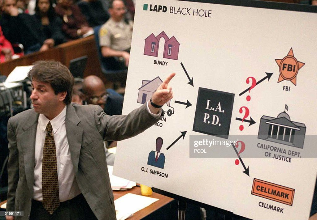Defense DNA expert Barry Scheck points to the 'Black Hole' chart during his closing arguments of the O.J. Simpson murder trial 28 September in Los Angeles. Scheck accused the Los Angeles Police Department of contaminating and corrupting blood evidence.