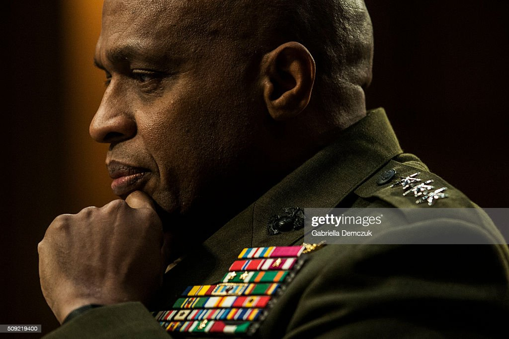 Defense Intelligence Agency Director Vincent Stewart listens to testimony during the Senate (Select) Intelligence Committee hearing at the Hart Senate Building on February 9, 2016 in Washington, D.C. The committee met to hear testimony about worldwide threats to America and its allies.