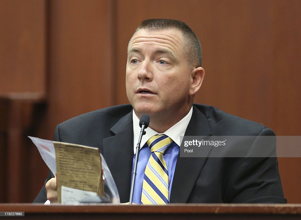 Defense law enforcement expert Dennis Root testifies during George Zimmerman's trial in Semimole circuit court during Zimmerman's murder trial in Semimole circuit court July 10, 2013 in Sanford, Florida. Zimmerman has been charged with second-degree murder for the 2012 shooting death of Trayvon Martin.