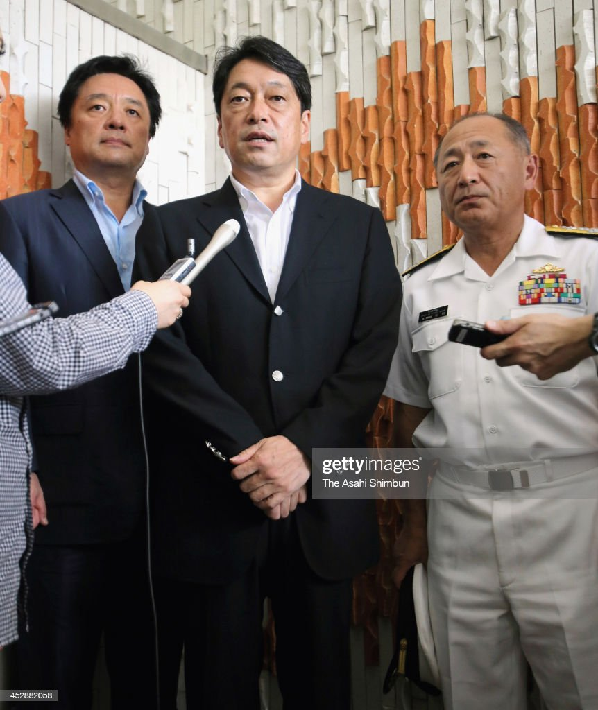 Defense Minister Itsunori Onodera speaks to the media reporters after his visit to Chichijima Island by an Osprey aircraft on July 28, 2014 in Ogasawara, Tokyo, Japan. The defense minister unveiled a plan that would use the Self-Defense Forces Osprey aircraft for airlifting sick or injured people in need of immediate medical attention from the Ogasawara islands to hospitals on the mainland.