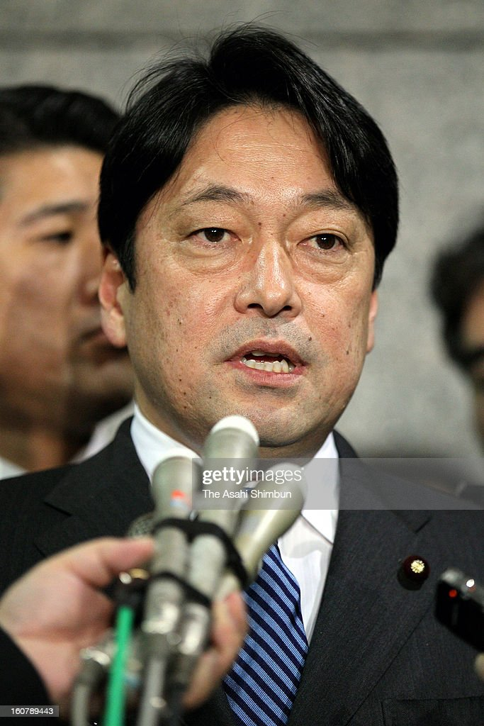 Defense Minister Itsunori Onodera speaks to the media reporters at the Defense Ministry on February 5, 2013 in Tokyo, Japan. A Chinese naval fregate pointed fire control radar to a Japan's Maritime Self-Defense Force vessel last month.