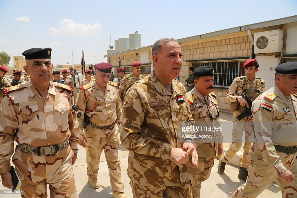 Defense Minister of Iraq Khaled al-Obaidi (C) visits Ninova Joint Operations Commandership to examine the Mosul rescue operation from Daesh in Mosul's Mahmur district, Iraq on June 25, 2016.