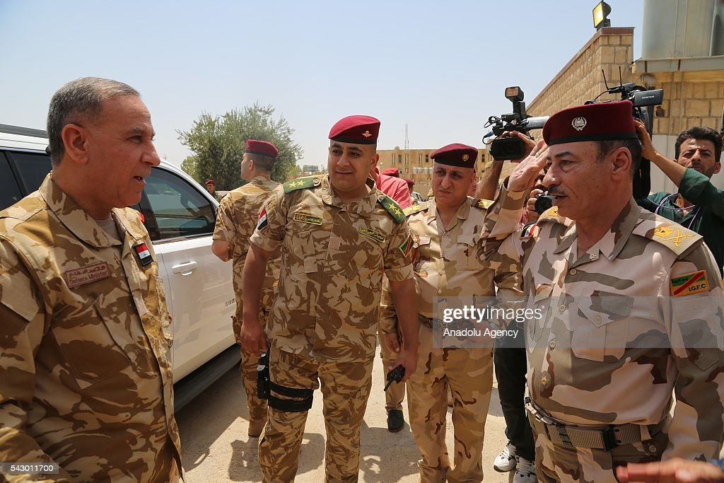 Defense Minister of Iraq Khaled al-Obaidi (L) visits Ninova Joint Operations Commandership to examine the Mosul rescue operation from Daesh in Mosul's Mahmur district, Iraq on June 21, 2016.