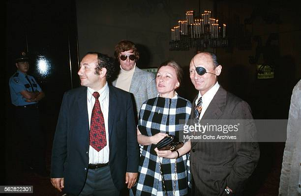 Defense Minister of Israel Moshe Dayan with his wife Rachel arrives to the 47th Academy Awards at Dorothy Chandler Pavilion in Los AngelesCalifornia
