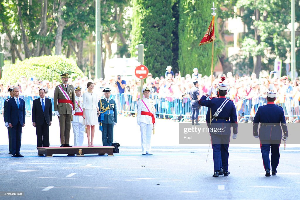 Defense Minister Pedro Morenes (L), King Felipe VI of Spain and Queen Letizia of Spain attend the 2015 Armed Forces Day at Plaza de la Lealtad on June 6, 2015 in Madrid, Spain.