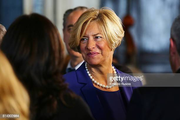 Defense Minister Roberta Pinotti attends the celebrations for International Women's Day at Palazzo del Quirinale on March 8 2016 in Rome Italy