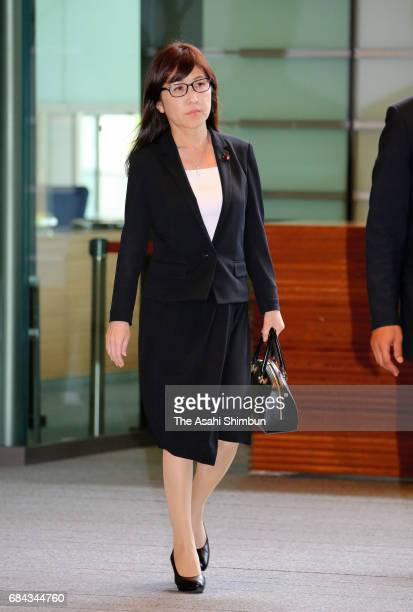 Defense Minister Tomomi Inada is seen on arrival at Prime Minister Shinzo Abe's official residence after North Korea launched a ballistic missile on...