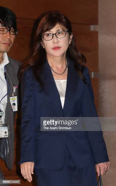 Defense Minister Tomomi Inada leaves after the national security council meeting at Prime Minister Shinzo Abe's official residence on May 21 2017 in...