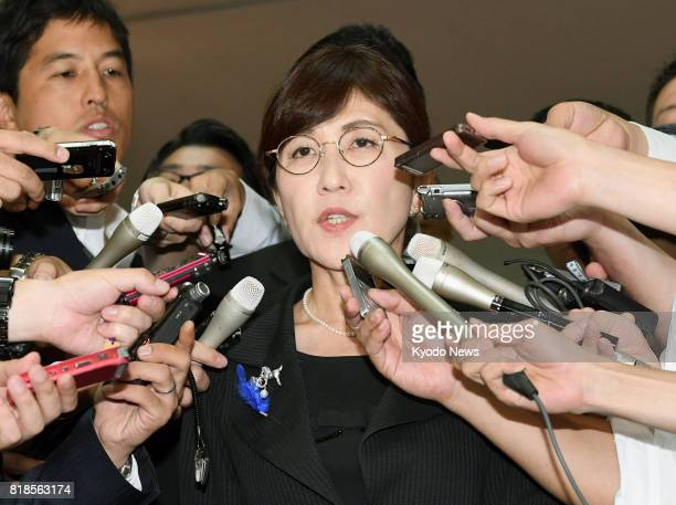 Defense Minister Tomomi Inada meets with reporters at her ministry in Tokyo on July 19 following reports she approved the withholding of news that...