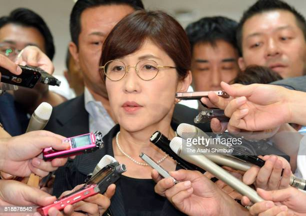 Defense Minister Tomomi Inada responds to questions on arrival at the Defense Ministry on July 19 2017 in Tokyo Japan The main opposition party...