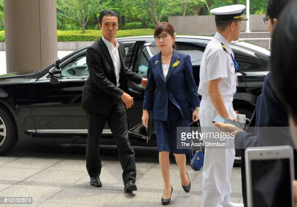 Defense Minister Tomomi Inada returns to the Defense Ministry on July 6 2017 in Tokyo Japan Inada slipped out of the Defense Ministry building for...